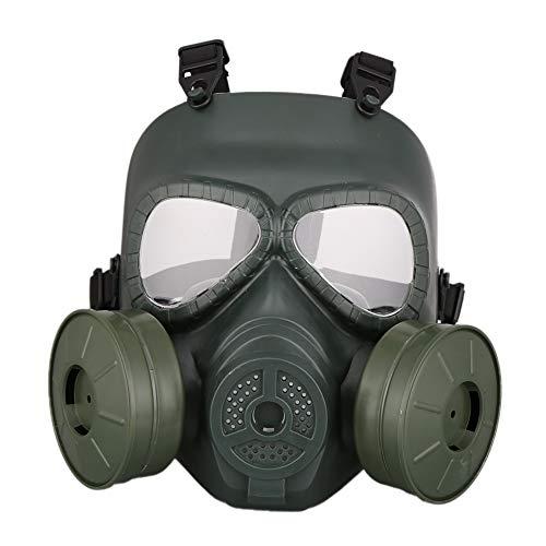 Yamer Outdoor Tactical Protective Mask Outdoor-Sportarten Vollverdeckte Gasmaske Helm Männer Frauen Verstellbarer Gurt PC-Objektiv mit Dual-Filter-Fans
