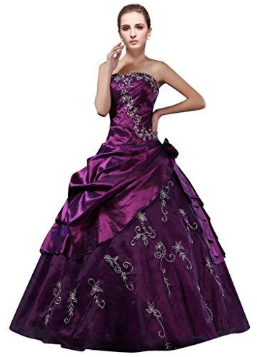 DLFASHION Strapless A-line Embroidered Taffeta Prom Dress