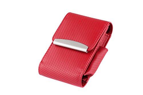 ZIGARETTENBOX Leder für 20er Zigarettenschachteln bis zu 100er Long Size (Rot)