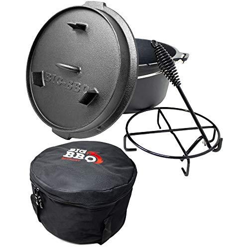 ToCis Big BBQ Premium Dutch Oven 9.0 Gusseisen eingebrannt 12er Kochtopf ohne Füße Set mit Tasche und Zubehör