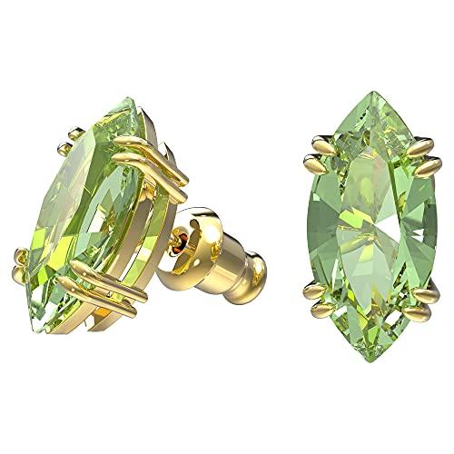 Swarovski Pendientes Gema, Verde, Chapado en Oro