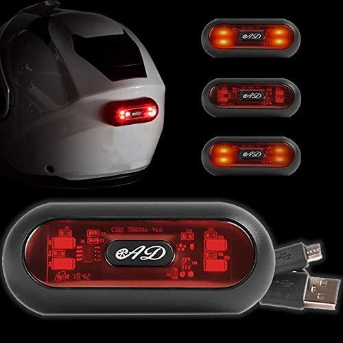 USB wiederaufladbare LED-Beleuchtung für MOTORRADHELM - SCOOTER Helm 🏍 MTB BIKE 🚲 ROLLER 🛴, wasserdicht IP67, rotes Rücklicht ♦ Lampe