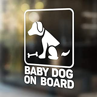 Babycalla Baby on Board Signs for Car Windows Sticker White Vinyl Boy and Girl (Dog)