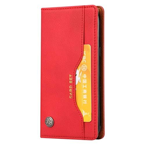 LICHONGGUI Teléfono Protector Funda de Cuero con Textura y Textura for la Piel de Knead for Galaxy J2 Pro 2018, con Marco de Fotos, Soporte y Ranuras for Tarjetas y Cartera (Color : Red)