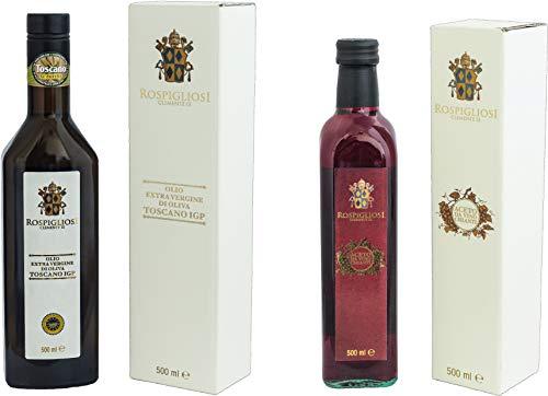Rospigliosi Olio Extra Vergine di Oliva Toscano I.G.P. e Aceto da Vino Chianti D.O.C.G. scatola mista 2 bottiglie - 1000 ml