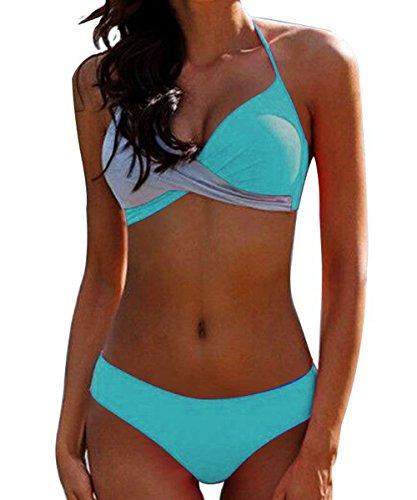 CKMKSA Damen Elegant Bademode Push up Zweiteiler Swimsuits mit Neckholder Bandeau Badeanzug Bikini-Set S A4-Hellblau