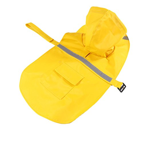 Reflektierende Hund Regen Mantel Jacke Mit Kapuze Regenkleidung - Gelb, XXL
