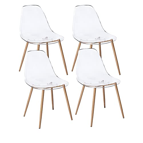CangLong Acrylic Ghost Chairs with Crystal Clear Seat,Modern Dining Chairs Plastic Shell Accent Side...