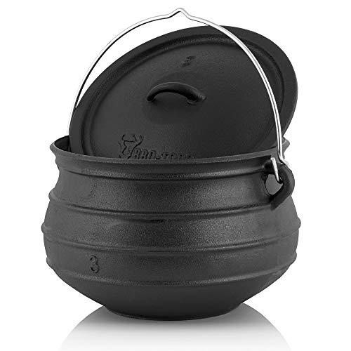 BBQ-Toro Potjie l Gusseisen Hexenkessel (Potjie #3 (ca. 8 Liter), ohne Füße) Guss Kochtopf l Südafrikanischer Dutch Oven