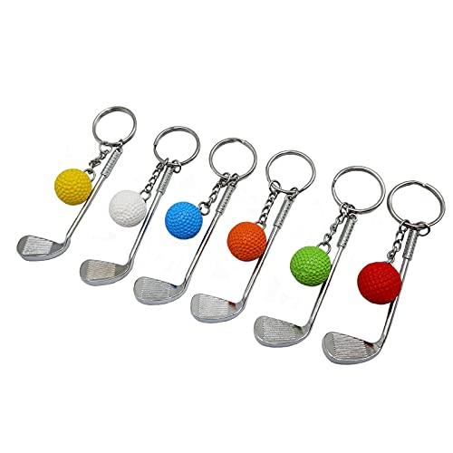 6 llaveros de golf, mini palo de golf y pelota de golf, mochila de clubes deportivos, regalos creativos para amantes del golf, hombres y mujeres y niñas