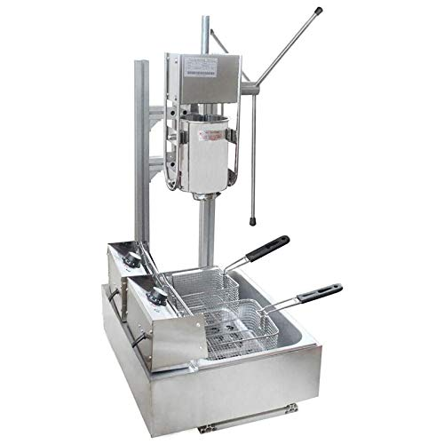 BoTaiDaHong 3L/5L Manual Commercial Spanish Churros Maker Machine with 6/12L Electric Deep Fryer& 4/5 Nozzles Stainless Steel Vertical Manual Spanish Donut Churro Machine (3L Machine 5nozzles with 12L Fryer)