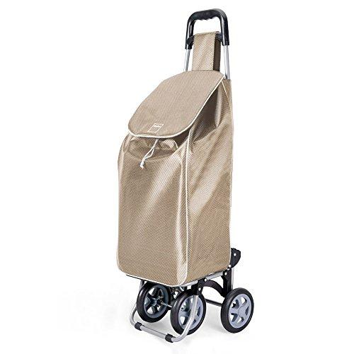 Metaltex Trillium - Carro de Compra con 4 ruedas, Dorado, 50 Litros