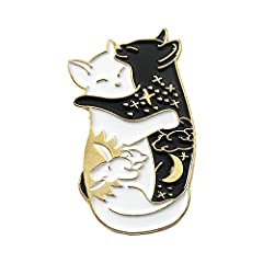 Featuring black and white hugging cat design, looks so cute.Joyci unique clothing collocation accessories. A perfect personal decoration brooches pin for women ladies dress up to add additional charms. Best gifts for Birthdays, Anniversaries, Valenti...
