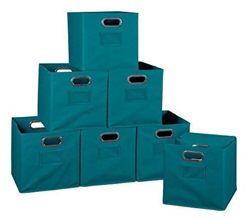 Niche Set of 12 Cubo Foldable Fabric Bins- Teal