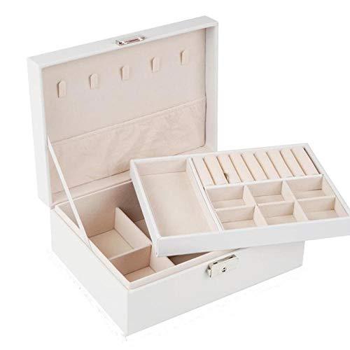 Caja de almacenamiento de joyero con cerradura de múltiples capas de gran capacidad pendientes pendientes regalos-Doble blanco