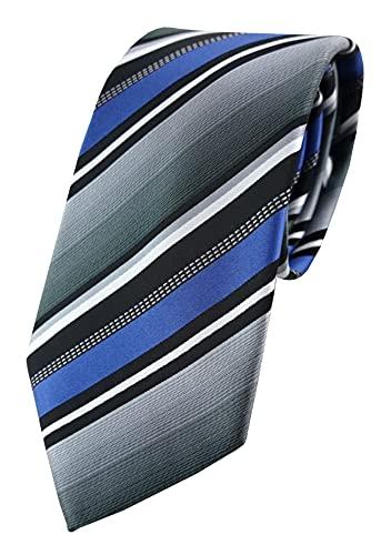 TigerTie - Corbata - azul plata gris blanco negro rayas