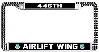 Makoncase US Air Force 446th Airlift Wing Auto License Tag Holder,Black Rhinestones Auto License Tag Holder