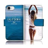 301-sanmaruichi- iPhone12ProMax 手帳型ケース iPhone 12 pro max 手帳型 PUレザー ケース おしゃれ 海 水着 セクシー ガール お尻 海 ハワイ カリフォルニア A 手帳ケース