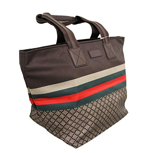 Gucci Unisex Brown Nylon Diamante Travel Tote Handbag 267922 8636