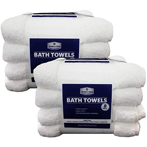 Member's Mark Commercial Bath Towels, White (Set of 8)