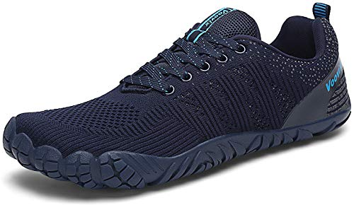 Voovix Mens Barefoot Shoes Athletic Trail Running Shoes Womens Outdoor Walking Shoes for Hiking Cross Training (Dark/Light Blue42)