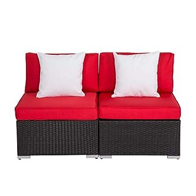 Peach Tree Outdoor Loveseat 2 PCs Patio Furniture Set, Wicker Armless Sofa Chairs Black Rattan Thick Cushions Infinitely Combination