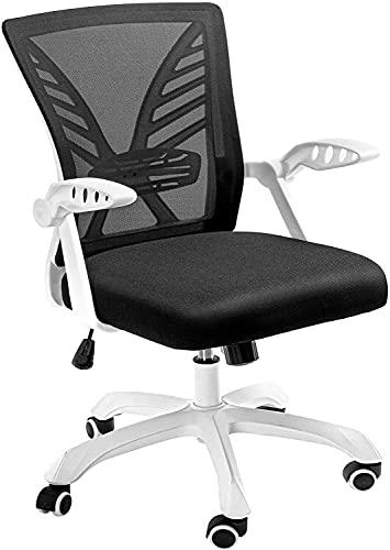 NOBLEWELL Silla de oficina, ergonómica con cómodo soporte lumbar, reposabrazos abatible, altura del asiento, silla de ordenador, silla de oficina de tela transpirable para el hogar, color blanco