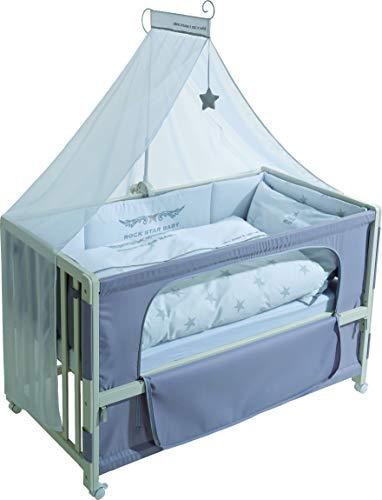 roba Beistellbett, Roombed, Babybett 60x120 cm\' Rock Star Baby 2, Anstellbett zum Elternbett mit kompletter Ausstattung