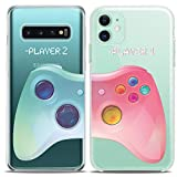 Cavka Matching Couple Cases Replacement for Samsung Galaxy S20 Note 20 5G S10e A71 A50 A11 A01 S7 S8 Video Game Clear Funny Pink Blue for Him Her Girlfriend Silicone Cover Anniversary Relationship