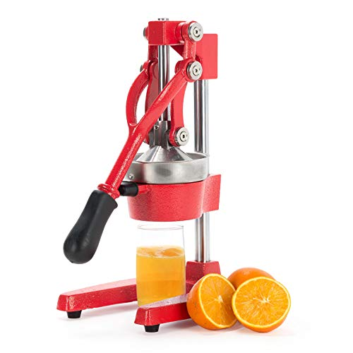 CO-Z Commercial Grade Citrus Juicer Professional Hand Press Manual Fruit Juicer Orange Juice Squeezer for Lemon Lime Pomegranate (Red Cast Iron/Stainless Steel)