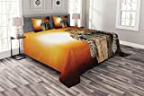 ABAKUHAUS Safari Tagesdecke Set, Safari Leopard auf Baum, Set mit Kissenbezügen Sommerdecke, für Doppelbetten 220 x 220 cm, Mehrfarbig