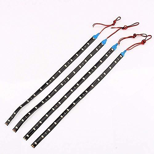 Tiras de LED 30 cm Ligero Luces 15 LED Impermeable Flexible para Automóvil Coche Azul Claro (4 Paquetes)