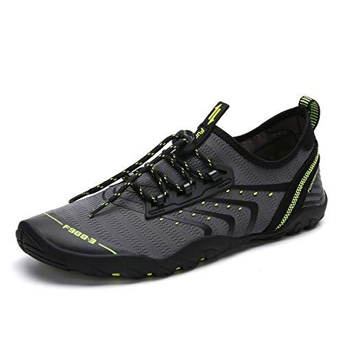 Zapatos de Agua Hombre Mujer Zapatillas para Playa Surf Natación Calzado Piscina Secado Rápido Escarpines Gris 43