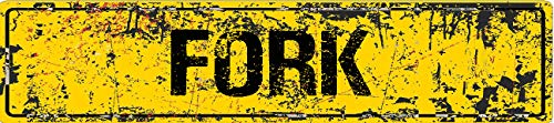 Fork Yellow Grunge Style Rustic Vintage Look 8' Wide Decal Bumper Sticker for use on Any Smooth Surface