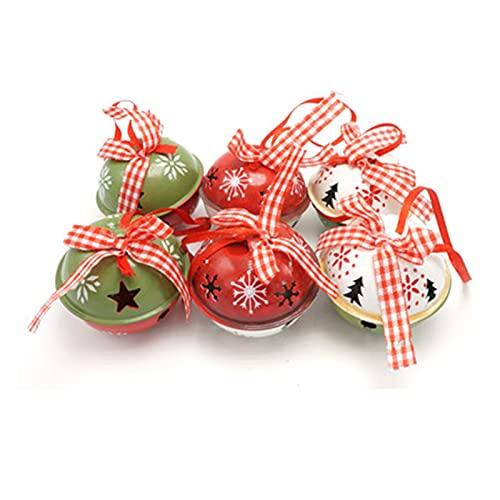 QQINGHAN Decoración navideña para el hogar 6 unids Rojo Verde Metal Jingle Campana con Cinta Feliz Navidad árbol decoración 50 mm Navidad (Christmas Bell Size : 50mm, Color : 6pcs Red Green White)