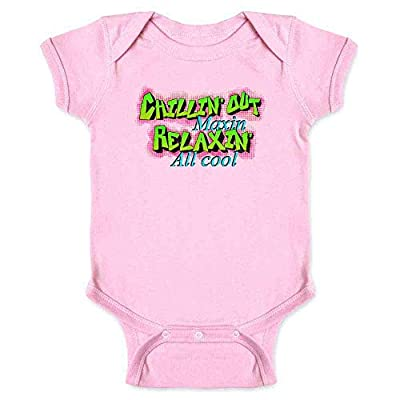 Chillin Out Maxin Relaxin All Cool 90s Retro Pink 12M Infant Baby Boy Girl Bodysuit