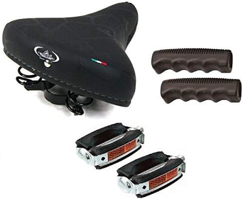 Sella MONTEGRAPPA con Molle + PEDALI Union + MANOPOLE ideale Bicicletta Graziella / Freni a bacchetta / City Bike / Olanda - Colore NERO