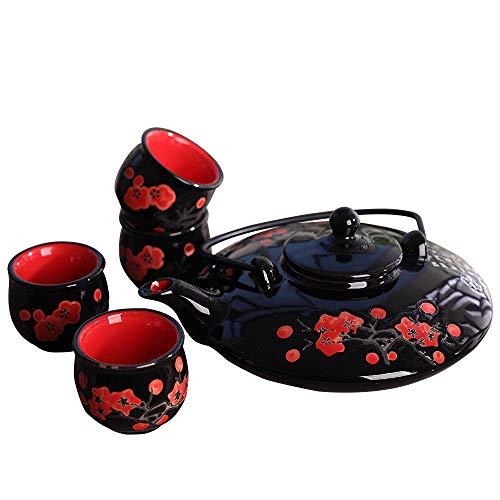Panbado Set 5 Pezzi, Set da tè Servizo da Teiere e Caraffe per caffè in Porcellana Ceramica Kungfu da Viaggio Portatile Vintage Stile Giapponese, Nera e Rossa