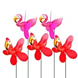 5 Pcs Wind Spinner Pinwheels with Metal Stakes, Flamingo Whirligig Windmill Toy, Garden Yard Lawn Shopping Mall Decorations, 3D Colorful Art Ornaments for Halloween Birthday Party (5 pcs Flamingo)