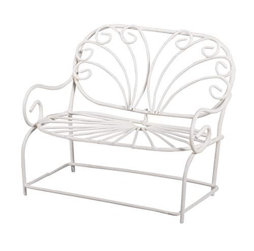Rayher 46069102 Draht-Bank 11,5x6,5x9,5cm, weiß, Miniatur-Gartenmöbel, für Fairy Garden, Puppenhaus, Terrarium Craft, Miniaturwelten in Betonschale oder Blumentopf