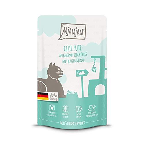 MjAMjAM – Cibo umido per gatti – schiacciamento – buona tacchino su zucca smorzata, confezione da 1 (1 x 125 g), senza cereali con molto carne