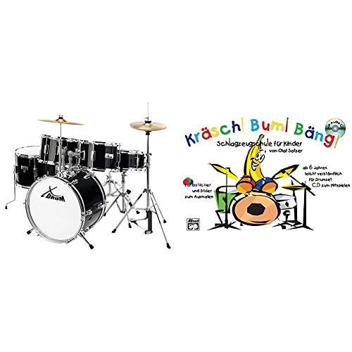 XDrum Junior Pro Kinder Schlagzeug Drumset (geeignet von 5-9 Jahren) schwarz & Kräsch! Bum! Bäng! Schlagzeugschule für Kinder: Schlagzeugschule für Kinder ab 6 Jahren leicht und verständlich