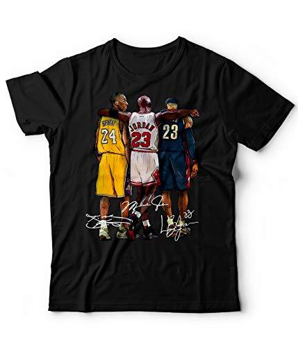 Generico T-Shirt Campioni di Basket NBA Kobe Bryant Pallacanestro (Nero, L)