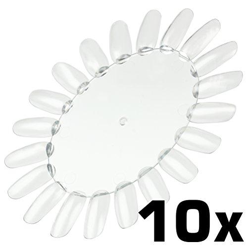 10 Stück Präsentationsdisplay [Farbe: klar transparent] Farbrad Tip-Rondell mit je 20 Nägeln zum...