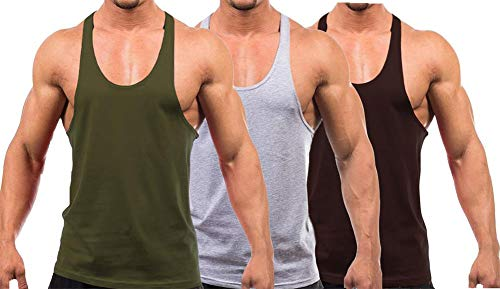 YAKER Men's Blank Stringer Y Back Bodybuilding Gym Tank Tops (M, ArmyGreen/Grey/Coffee)