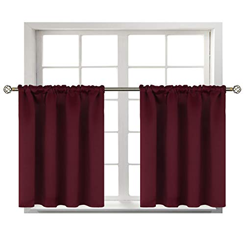 BGment Small Window Room Darkening Curtains for Kitchen- Thermal Insulated Tier Valance Curtain for Bedroom, 42 x 36 Inch, 2 Panels, Burgundy