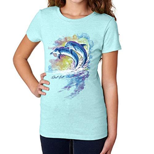 Del Sol Camiseta para niñas jóvenes, diseño de delfín de