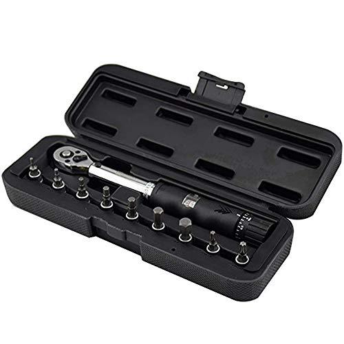 WISRETEC 1/4 Zoll DR 2–14 Nm Fahrrad-Drehmomentschlüssel-Set, Fahrradreparatur-Werkzeug-Set, Ratsche, mechanischer Drehmomentschlüssel