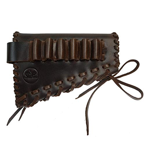 Adjustable Ammo Shell Holder for Rifles 30-06, 308, 45-70.50.Upgrade Leather Gun Buttstock Shotgun Shell Holder (Brown)