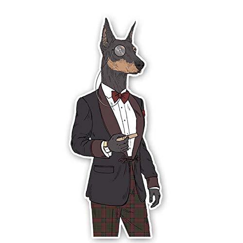 ZXCVBNK Pegatinas Coche Cartoon Gentleman Dog PVC Interés Decal Car Sticker 2PCS 6.3CM * 14.9CM